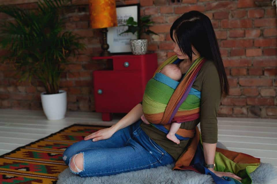 Little Frog Dark Rainbow Aura woven wrap for baby